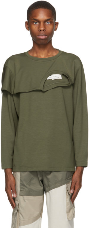 Feng Chen Wang Khaki 2-In-1 Long Sleeve T-Shirt