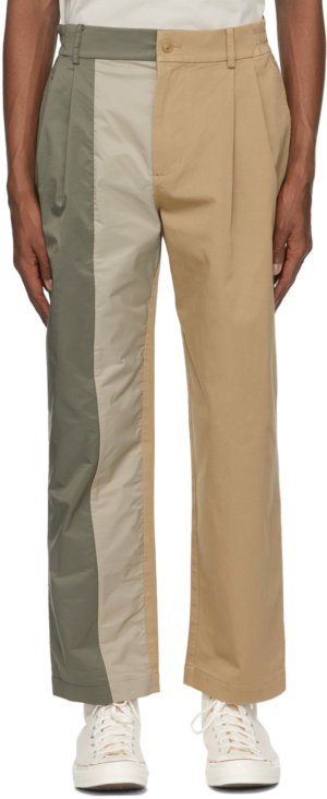 Feng Chen Wang Khaki Paneled Trousers