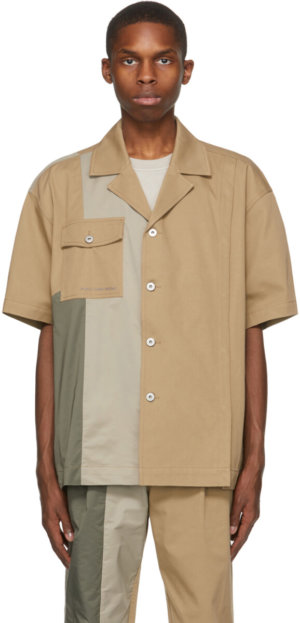 Feng Chen Wang Khaki Panelled Short Sleeve Shirt