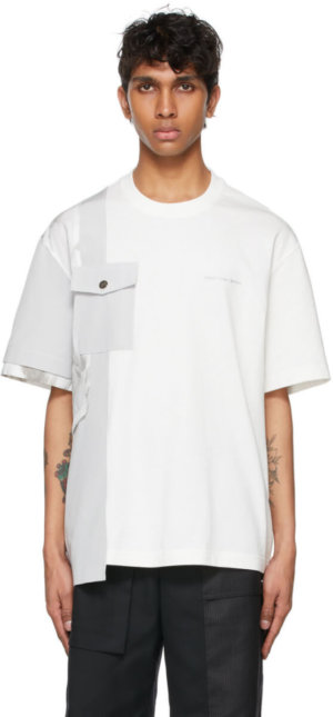 Feng Chen Wang White & Grey Paneled T-Shirt