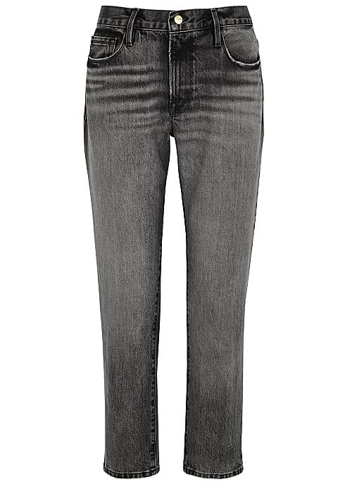 grey straight cut jeans