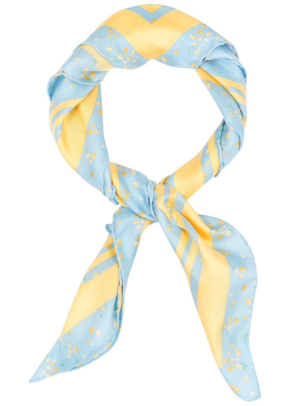blue yellow silk scarf