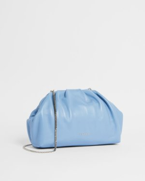 Gathered Leather Clutch Bag
