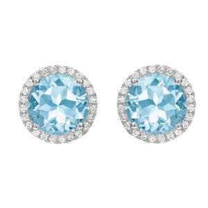 Grace 18ct White Gold, Blue Topaz and Diamond Earrings