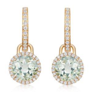 Grace 18ct Yellow Gold, Green Amethyst & Diamond Mini Detachable Drop Earrings