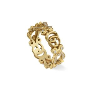 Gucci 18ct Yellow Gold Diamond Flora Ring - Ring Size M