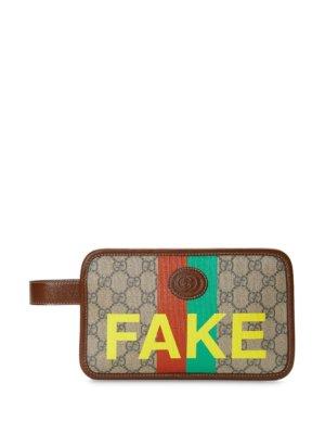 Gucci Fake/Not print wallet - Neutrals