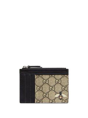 Gucci GG Supreme bee print wallet - Brown