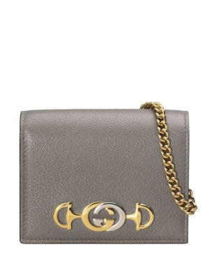 Gucci Gucci Zumi grainy card case wallet - Grey