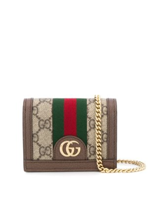 Gucci Ophidia GG chain wallet - Brown