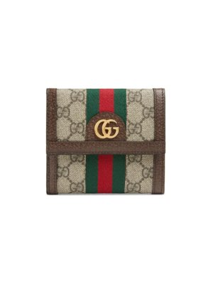 Gucci Ophidia GG french flap wallet - Brown