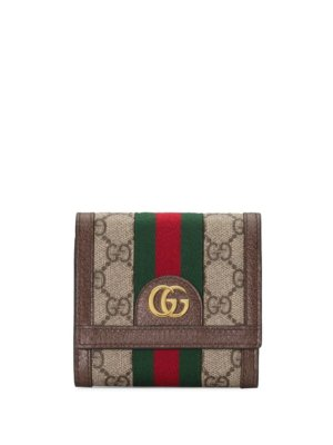 Gucci Ophidia GG french flap wallet - Neutrals