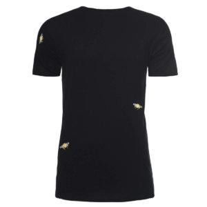 INGMARSON - Bee Embroidered T-Shirt Raw Edge Black Men