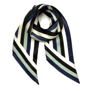 INGMARSON - Henley Silk Stripe Neck Scarf Blue