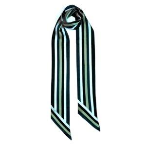 INGMARSON - Henley Silk Stripe Neck Scarf Long Blue