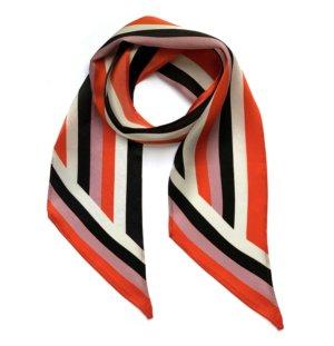 INGMARSON - Henley Silk Stripe Neck Scarf Orange