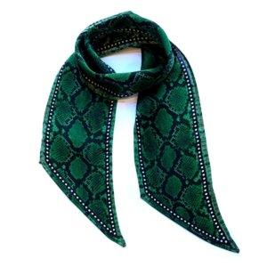 INGMARSON - Snakeskin Silk Neck Scarf Green