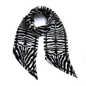 INGMARSON - Zebra Silk Neck Scarf Black & White