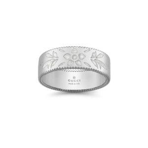 Icon 18ct White Gold Enamel 6mm Ring - Ring Size N.5