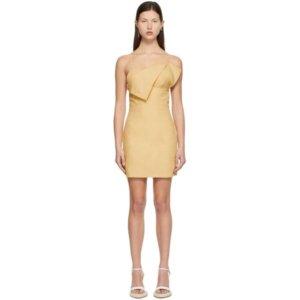 Jacquemus Yellow La Robe Drap Dress