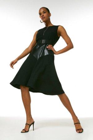 Karen Millen Compact Stretch & Faux Leather Mix Midi Dress -, Black
