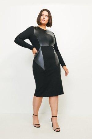 Karen Millen Curve Faux Leather Ponte Panelled Dress -, Black