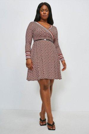 Karen Millen Curve Long Sleeve Wrap Km Logo Jersey Dress -, Red