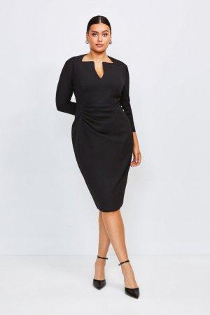 Karen Millen Curve Sleeved Envelope Neck Dress -, Black