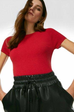 Karen Millen Essential Knitted Tee -, Red