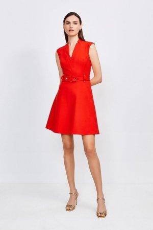 Karen Millen Forever Cinch Waist Cap Sleeve A-Line Dress -, Red