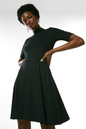 Karen Millen Half Sleeve Funnel Neck Jersey Dress -, Black