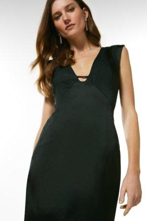 Karen Millen Italian Structured Satin And Rib Cutout Dress -, Black