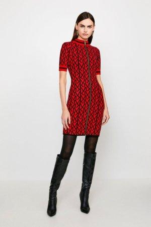 Karen Millen KM Logo Funnel Neck Knitted Dress -, Red