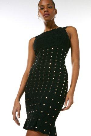 Karen Millen Knitted Dress With Peplum And Stud Detail -, Black