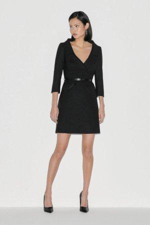 Karen Millen Label Italian Stretch Wool Collared Dress -, Black