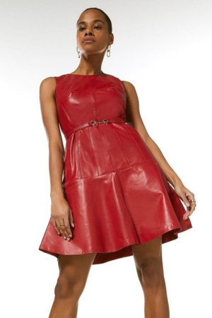 Karen Millen Leather Belted Fit And Flare Dress -, Red