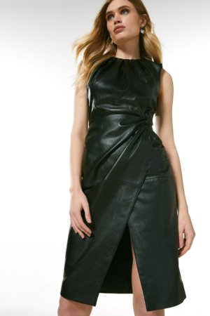 Karen Millen Leather Knot Twist Waist Dress -, Black
