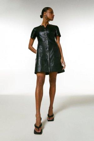 Karen Millen Leather Popper Front Multi Stitch Dress -, Black