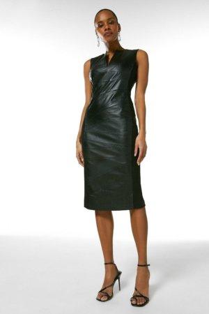 Karen Millen Leather Seam Detail Pencil Dress -, Black