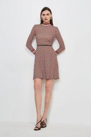 Karen Millen Long Sleeve Funnel Neck Km Logo Jersey Dress -, Red