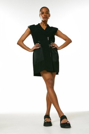 Karen Millen Luxe Satin Back Crepe Utility Dress -, Black