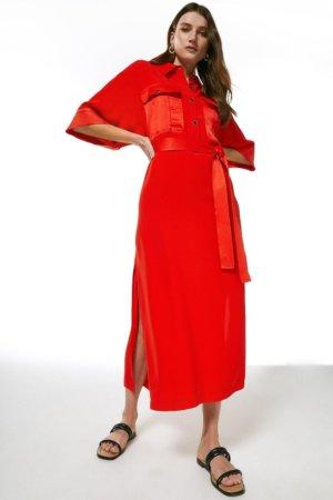Karen Millen Multistitch Matte And Shine Maxi Dress -, Red
