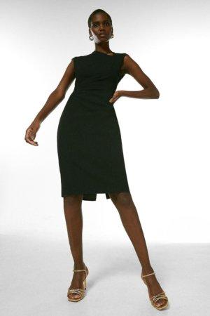 Karen Millen Structured Crepe Button Asymmetric Dress -, Black