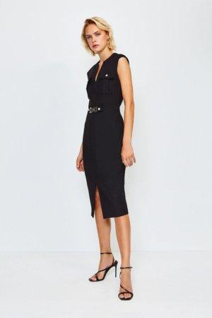 Karen Millen Utility Snaffle Trim Dress -, Black