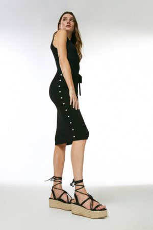 Karen Millen Wrap Detail Rib Knitted Dress -, Black