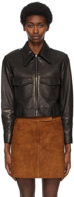 Khaite Black Leather 'The Corey' Jacket