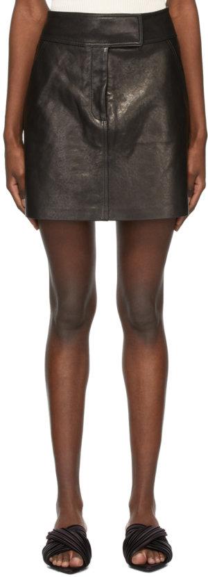 Khaite Black Leather 'The Giulia' Miniskirt