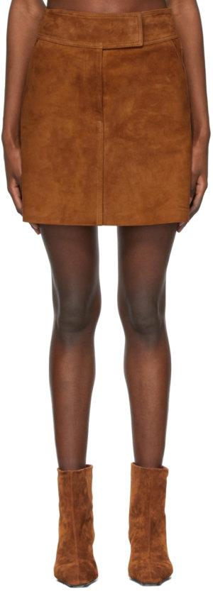 Khaite Tan Suede 'The Giulia' Miniskirt