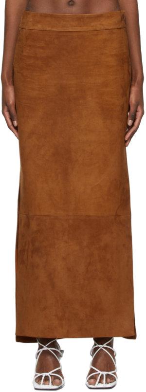 Khaite Tan Suede 'The Myla' Skirt