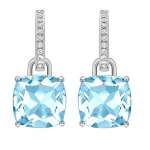 Kiki Classics 18ct White Gold, Cushion Cut Blue Topaz and Diamond Detachable Hoop Earrings